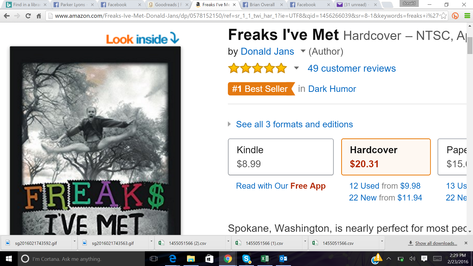 """Freaks I've Met"" new novel Hits #1 on Amazon"